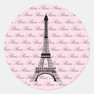 Torre Eiffel rosada y negra de París Pegatinas Redondas