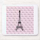 Torre Eiffel rosada y negra de París Alfombrilla De Ratones