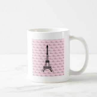 Torre Eiffel rosada y negra de París Taza Básica Blanca