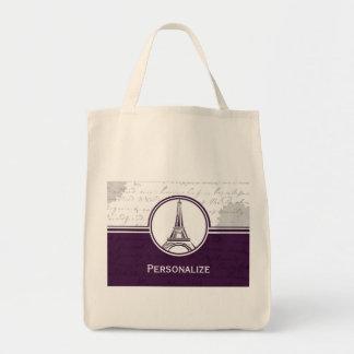 Torre Eiffel Totebag de las glicinias Bolsa Tela Para La Compra