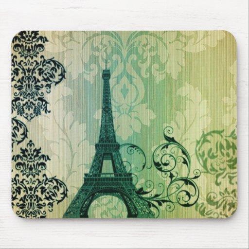 torre Eiffel verde elegante lamentable de París Alfombrilla De Raton