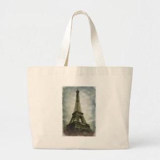 Torre Eiffel vieja París del efecto de la foto Bolsa Tela Grande