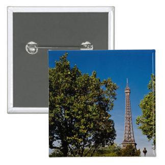 Torre Eiffel y árboles, París, Francia Pin Cuadrada 5 Cm