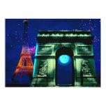 Torre Eiffel y Arco del Triunfo con la luna Invitación 12,7 X 17,8 Cm