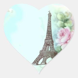 Torre Eiffel y etiquetas rosadas de los pegatinas Calcomania Corazon