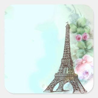 Torre Eiffel y etiquetas rosadas de los pegatinas Pegatina Cuadradas