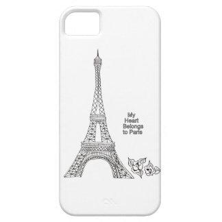 Torre Eiffel y flor de Camila - mi corazón pertene iPhone 5 Case-Mate Protectores