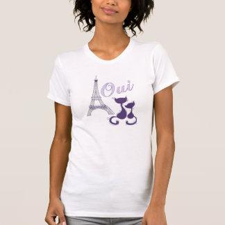 Torre Eiffel y gatos púrpuras elegantes de Oui Par Camisetas