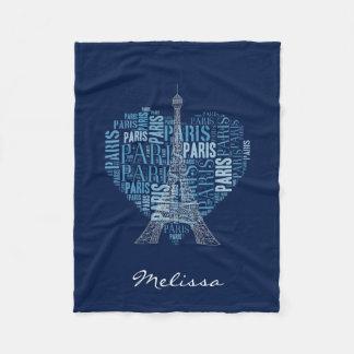 Torre Eiffel y inscripciones París en azul del Manta De Forro Polar