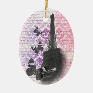 Torre Eiffel y mariposas Ornamento Para Reyes Magos