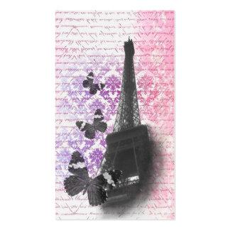 Torre Eiffel y mariposas Plantilla De Tarjeta De Visita
