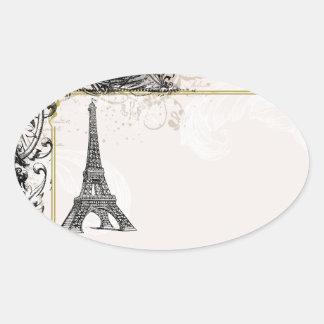 Torre Eiffel y pegatinas de los remolinos Calcomanía De Óval Personalizadas