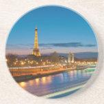 Torre Eiffel y Pont Alejandro III en la noche Posavasos Cerveza