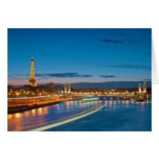 Torre Eiffel y Pont Alejandro III en la noche Tarjeton
