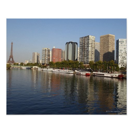 Torre Eiffel y río Sena Póster