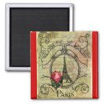 Torre Eiffel y rosa rojo Steampunk de París Iman