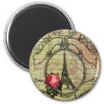 Torre Eiffel y rosa rojo Steampunk de París Imán Redondo 5 Cm