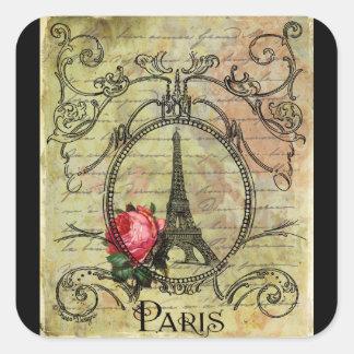 Torre Eiffel y rosa rojo Steampunk de París Pegatinas Cuadradas Personalizadas