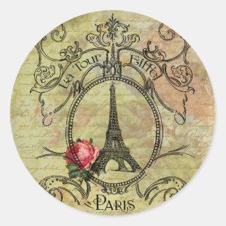 Torre Eiffel y rosa rojo Steampunk de París Etiquetas Redondas