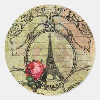 Torre Eiffel y rosa rojo Steampunk de París Pegatina Redonda
