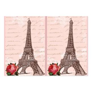 Torre Eiffel y rosa rojo Tarjetas De Visita