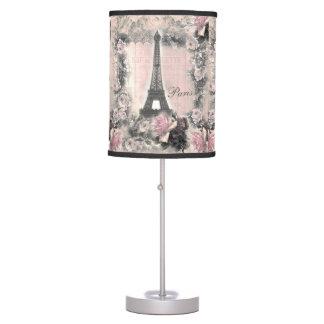 Torre Eiffel y rosas elegantes lamentables en rosa Lámpara De Mesilla De Noche