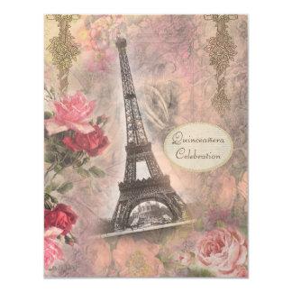 """Torre Eiffel y rosas elegantes lamentables Invitación 4.25"""" X 5.5"""""""