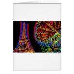 Torre Eiffel y tiovivo Tarjeta