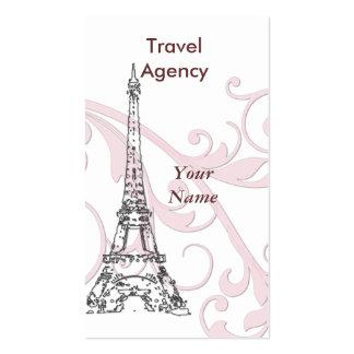 Torre Eiffel y voluta rosada Tarjeta Personal