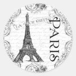 Torre Eiffel y volutas de París Pegatinas Redondas