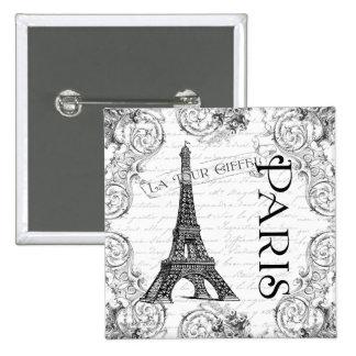 Torre Eiffel y volutas de París Pin Cuadrado