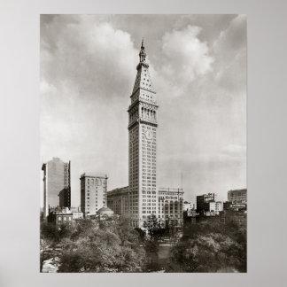 Torre encontrada New York City, 1910 de la vida Posters
