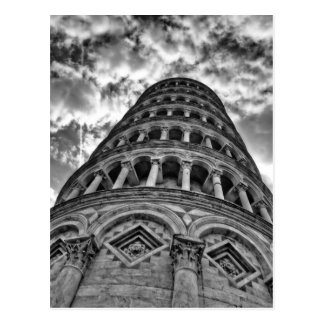 Torre inclinada blanca negra de Pisa de debajo Tarjetas Postales