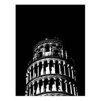Torre inclinada blanca negra de Pisa Italia Postales