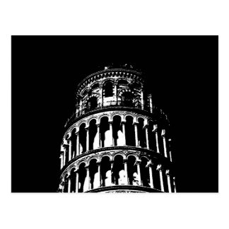 Torre inclinada blanca negra de Pisa Italia Tarjeta Postal