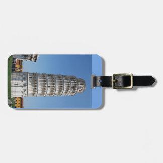 Torre inclinada de Italia de Pisa y de la bandera Etiquetas Para Maletas