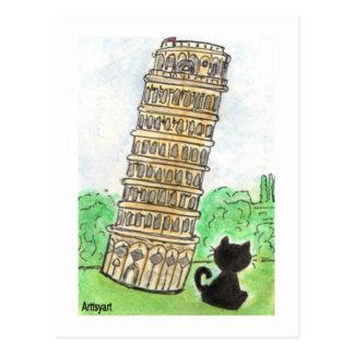 Torre inclinada de la charla Noir del gato negro d Tarjeta Postal