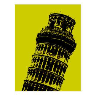 Torre inclinada de la postal del arte pop de Pisa