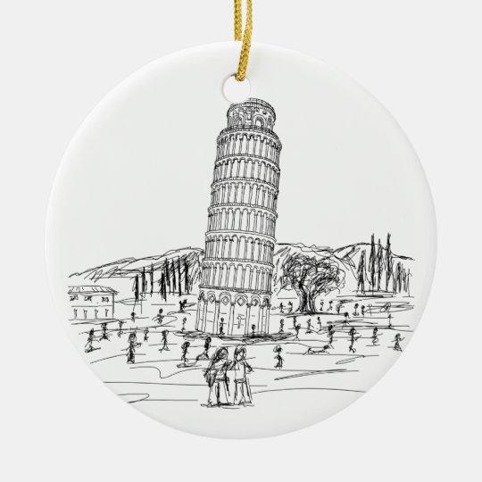 torre inclinada de Pisa Adorno Navideño Redondo De Cerámica