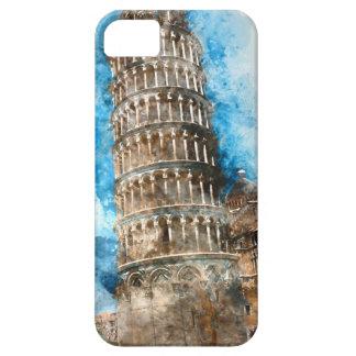 Torre inclinada de Pisa en Italia - acuarela Funda Para iPhone SE/5/5s
