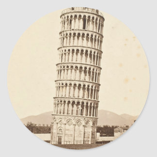 Torre inclinada de Pisa Pegatina Redonda