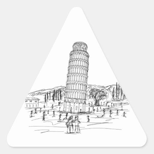 torre inclinada de Pisa Pegatina Triangular