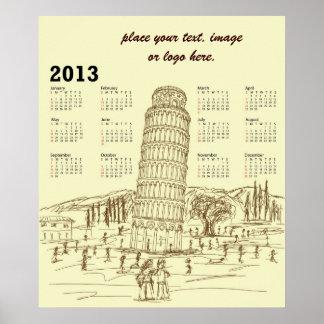 torre inclinada de Pisa Póster