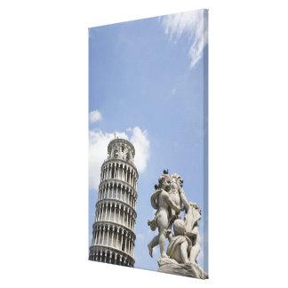 Torre inclinada de Pisa y de la estatua, Italia Impresión En Lona