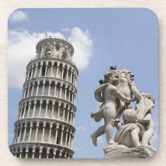 Torre inclinada de Pisa y de la estatua, Italia Posavasos De Bebidas