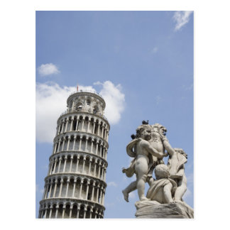 Torre inclinada de Pisa y de la estatua, Italia Postales