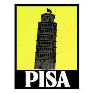 Torre inclinada del diseño de la postal de Pisa