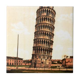 torre inclinada del vintage de Pisa Azulejo Cuadrado Pequeño