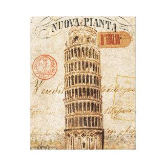 Torre inclinada del vintage de Pisa Impresion En Lona