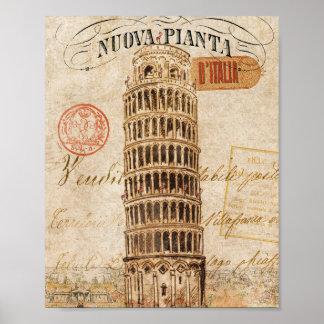 Torre inclinada del vintage de Pisa Póster